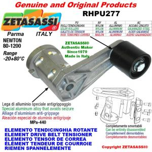 ÉLÉMENT TENDEUR DE COURROIE RHPU277 avec galet de tension et roulements Ø50xL50 en acier zingué Newton 80:1200