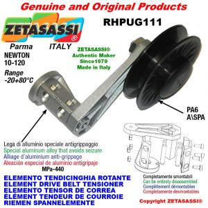 """ELEMENT DRIVE BELT TENSIONER RHPUG111 with A/SPA rim pulley and bearings type PUG 4"""" in nylon Newton 10:120"""