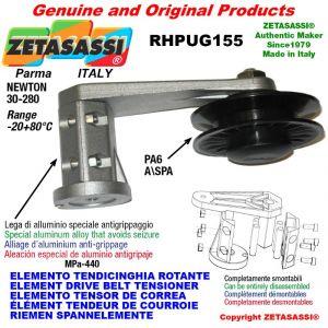"""ELEMENTO TENSOR DE CORREA RHPUG155 con polea a garganta A/SPA y rodamientos en nylon tipo PUG 4"""" Newton 30:280"""