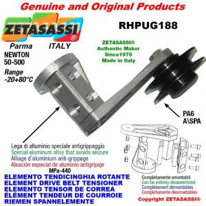 """ELEMENT DRIVE BELT TENSIONER RHPUG188 with A/SPA rim pulley and bearings type PUG 3"""" in nylon Newton 50:500"""