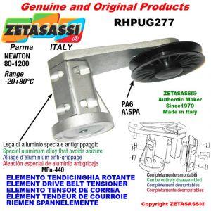 """ÉLÉMENT TENDEUR DE COURROIE RHPUG277 avec poulie á cannelure A/SPA en nylon et roulements type PUG 4"""" Newton 80:1200"""