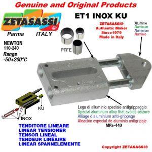 TENDEUR LINÉAIRE ET1INOXKU type INOX filetage M8x1,25 mm pour fixation de accessories Newton 110-240 avec bagues PTFE