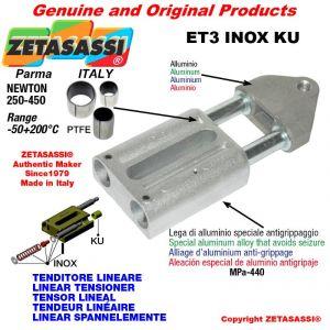 LINEAR SPANNELEMENTE Typ ET3INOXKU mit Gewinde M16x2 mm zur Anbringung von Zubehör N 250-450 mit PTFE-Gleitbuchsen