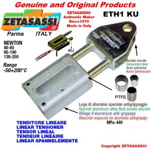 LINEAR SPANNELEMENTE ETH1KU mit Gabel 62 mm zur Anbringung von Zubehör Newton 130-250 mit PTFE-Gleitbuchsen