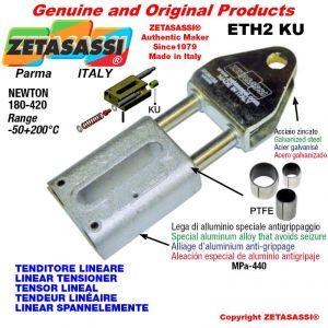 TENDEUR LINÉAIRE ETH2KU avec fourche 80 mm pour fixation de accessories Newton 180-420 avec bagues PTFE