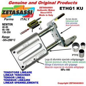 LINEAR TENSIONER ETHG1KU wiht fork 62 mm for attachment of accessories Newton 130-250 with PTFE glide bushings