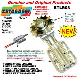 "LINEAR DRIVE CHAIN TENSIONER ETLR08AC with idler sprocket simple 08B1 1\2""x5\16"" Z14 Newton 95-190"