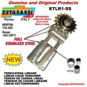 """TENSOR DE CADENA LINEAL ETLR1-SS completamente de acero inoxidable con piñon tensor simple 06B1 3\8""""x7\32"""" Z21 N 110-24"""