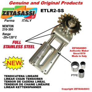 "LINEAR DRIVE CHAIN TENSIONER ETLR2-SS Completely in stainless steel with idler sprocket 16B1 1""x17 Z12 N 210-350"