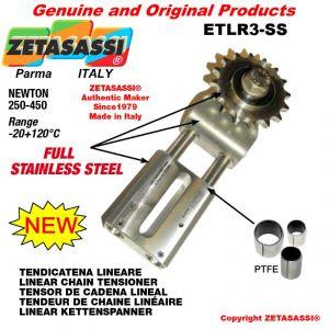 """TENSOR DE CADENA LINEAL ETLR3-SS completamente de acero inoxidable con piñon tensor simple 08B1 1\2""""x5\16"""" Z16 N 250-45"""