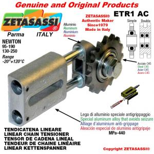"TENDICATENA LINEARE ETR1AC con pignone tendicatena doppia 08B2 1\2""x5\16"" Z16 Newton 130-250"