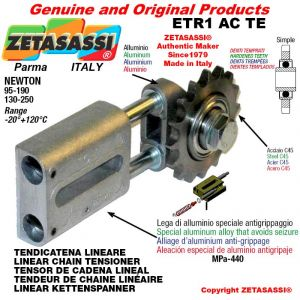 "LINEAR DRIVE CHAIN TENSIONER ETR1ACTE with idler sprocket simple 12B1 3\4""x7\16"" Z15 hardened Newton 95-190"