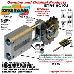 """TENSOR DE CADENA LINEAL ETR1ACKU con piñon tensor doble 06B2 3\8""""x7\32"""" Z21 Newton 95-190 con casquillos PTFE"""