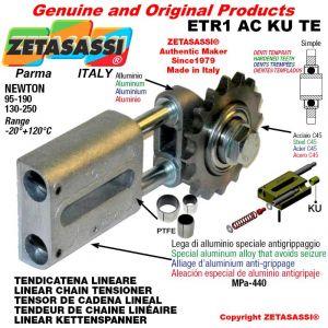 """Tendicatena lineare ETR1ACKUTE con pignone tendicatena semplice 12B1 3\4""""x7\16"""" Z15 temprati Newton 130-250"""