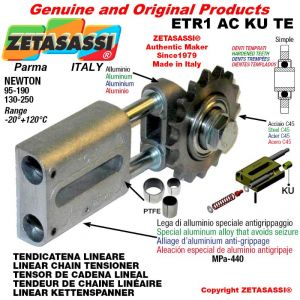 "LINEAR DRIVE CHAIN TENSIONER ETR1ACKUTE with idler sprocket simple 08B1 1\2""x5\16"" Z16 hardened Newton 95-190"
