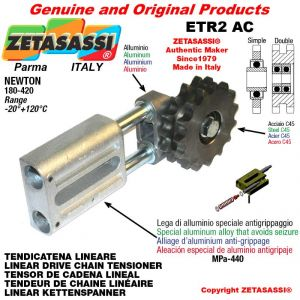 "LINEAR DRIVE CHAIN TENSIONER ETR2AC with idler sprocket simple 16B1 1""x17 Z12 Newton 180-420"