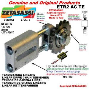 "LINEAR DRIVE CHAIN TENSIONER ETR2ACTE with idler sprocket simple 08B1 1\2""x5\16"" Z16 hardened Newton 180-420"