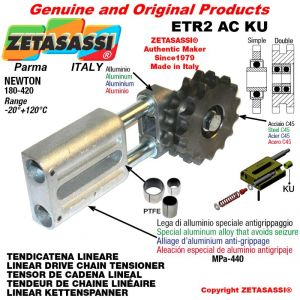 """LINEAR DRIVE CHAIN TENSIONER ETR2ACKU with idler sprocket simple 16B1 1""""x17 Z12 Newton 180-420 with PTFE bushings"""
