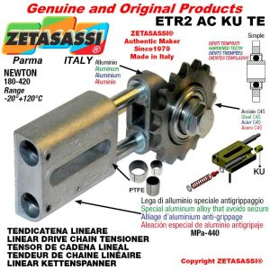 """LINEAR DRIVE CHAIN TENSIONER ETR2ACKUTE with idler sprocket simple 08B1 1\2""""x5\16"""" Z16 hardened Newton 180-420"""