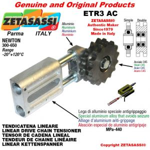 """LINEAR DRIVE CHAIN TENSIONER ETR3AC with idler sprocket double 08B2 1\2""""x5\16"""" Z16 Newton 300-650"""