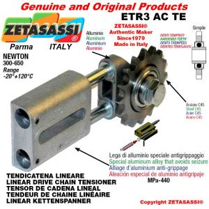 "LINEAR DRIVE CHAIN TENSIONER ETR3ACTE with idler sprocket simple 08B1 1\2""x5\16"" Z16 hardened Newton 300-650"