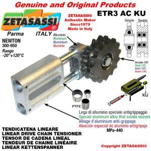 """Tendicatena lineare ETR3ACKU con pignone tendicatena semplice 24B1 1""""½x1"""" Z9 Newton 300-650 con boccole PTFE"""