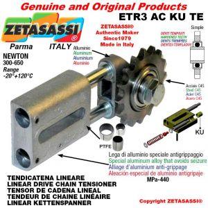 """Tendicatena lineare ETR3ACKUTE con pignone tendicatena semplice 16B1 1""""x17 Z12 temprati Newton 300-650"""