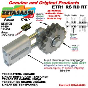 "LINEAR DRIVE CHAIN TENSIONER ETR1RSRDRT with idler sprocket 12B1 3\4""x7\16"" Z15 Newton 130-250"