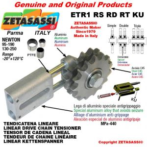 """LINEAR DRIVE CHAIN TENSIONER ETR1RSRDRTKU with idler sprocket 08B3 1\2""""x5\16"""" Z15 Newton 130-250 with PTFE bushings"""