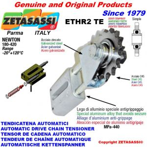 """LINEAR DRIVE CHAIN TENSIONER ETHR2TE with idler sprocket simple 12B1 3\4""""x7\16"""" Z15 hardened Newton 180:420"""