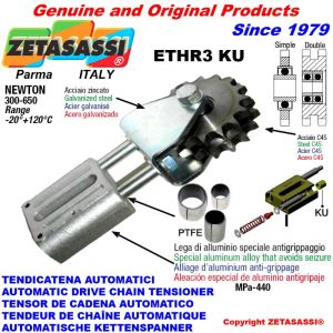 """LINEAR DRIVE CHAIN TENSIONER ETHR3KU with idler sprocket simple 16B1 1""""x17 Z12 Newton 300:650 with PTFE bushings"""