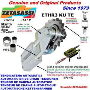 """LINEAR DRIVE CHAIN TENSIONER ETHR3KUTE with idler sprocket simple 16B1 1""""x17 Z12 hardened Newton 300:650"""