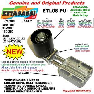 TENSOR DE CORREA LINEAL ETL08PU con rodillo tensor y rodamientos Ø50xL50 en aluminio Newton 95-190