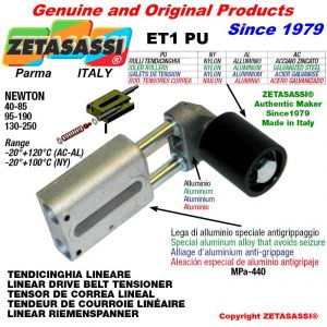 TENDEUR DE COURROIE LINÉAIRE ET1PU avec galet de tension et roulements Ø40xL45 en nylon Newton 40-85