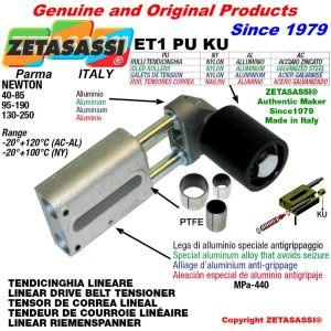 Tendicinghia lineare ET1PUKU con rullo tendicinghia Ø60xL60 in alluminio N110-450 con boccole PTFE