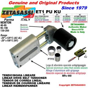 TENDICINGHIA LINEARE ET1PUKU con rullo tendicinghia Ø50xL50 in alluminio N130-250 con boccole PTFE
