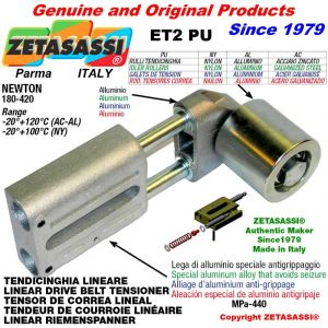 TENDEUR DE COURROIE LINÉAIRE ET2PU avec galet de tension et roulements Ø60xL60 en aluminium Newton 180-420