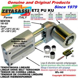 Tendicinghia lineare ET2PUKU con rullo tendicinghia Ø60xL60 in acciaio zincato N180-420 con boccole PTFE