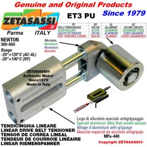 TENDEUR DE COURROIE LINÉAIRE ET3PU avec galet de tension et roulements Ø60xL60 en aluminium Newton 300-650