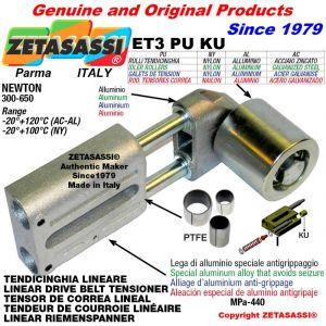 Tendicinghia lineare ET3PUKU con rullo tendicinghia Ø80xL90 in acciaio zincato N300-650 con boccole PTFE