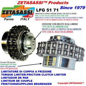 limitatore di coppia a frizione con giunto a catena LFG - mozzo in lega leggera