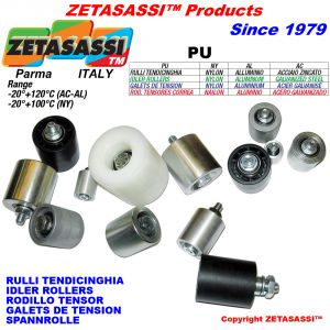 RULLO TENDICINGHIA (Acciaio,Alluminio,Nylon) con cuscinetti