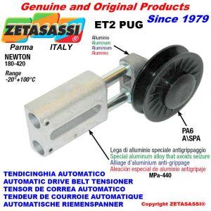 """LINEAR RIEMENSPANNER ET2PUG mit Felgenrolle und Lagern Typ PUG 4 """"aus Nylon für Riemen A/SPA N180-420"""