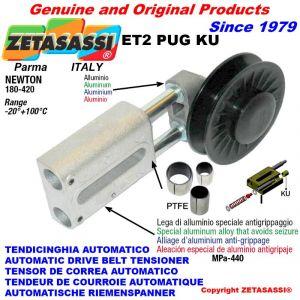 """LINEAR RIEMENSPANNER ET2PUGKU mit Felgenrolle und Lagern Typ PUG 3 """"aus Nylon für Riemen A/SPA N180-420 mit PTFE-Gleit."""