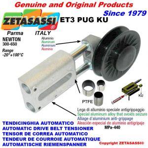 """LINEAR RIEMENSPANNER ET3PUGKU mit Felgenrolle und Lagern Typ PUG 3 """"aus Nylon für Riemen A/SPA N300-650 mit PTFE-Gleit."""