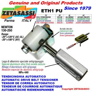 LINEAR DRIVE BELT TENSIONER ETH1PU with idler roller Ø40xL50 in zinc-coated steel N130:250