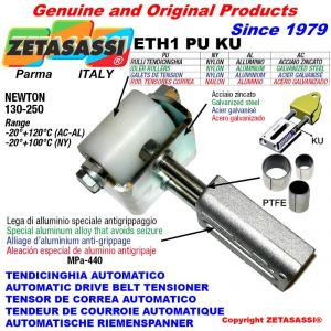 LINEAR DRIVE BELT TENSIONER ETH1PUKU with idler roller Ø40xL50 in zinc-coated steel N130:250 with PTFE bushings
