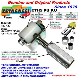 LINEAR DRIVE BELT TENSIONER ETH2PUKU with idler roller Ø50xL65 in zinc-coated steel N180:420 with PTFE bushings