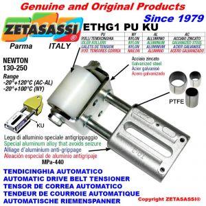 TENDEUR DE COURROIE LINÉAIRE ETHG1PUKU avec galet de tension Ø40xL50 en aluminium N130:250 avec bagues PTFE
