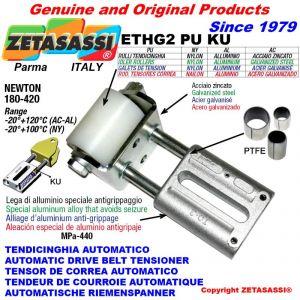 TENSOR DE CORREA LINEAL ETHG2PUKU con rodillo tensor Ø50xL65 en acero cincado N180:420 con casquillos PTFE